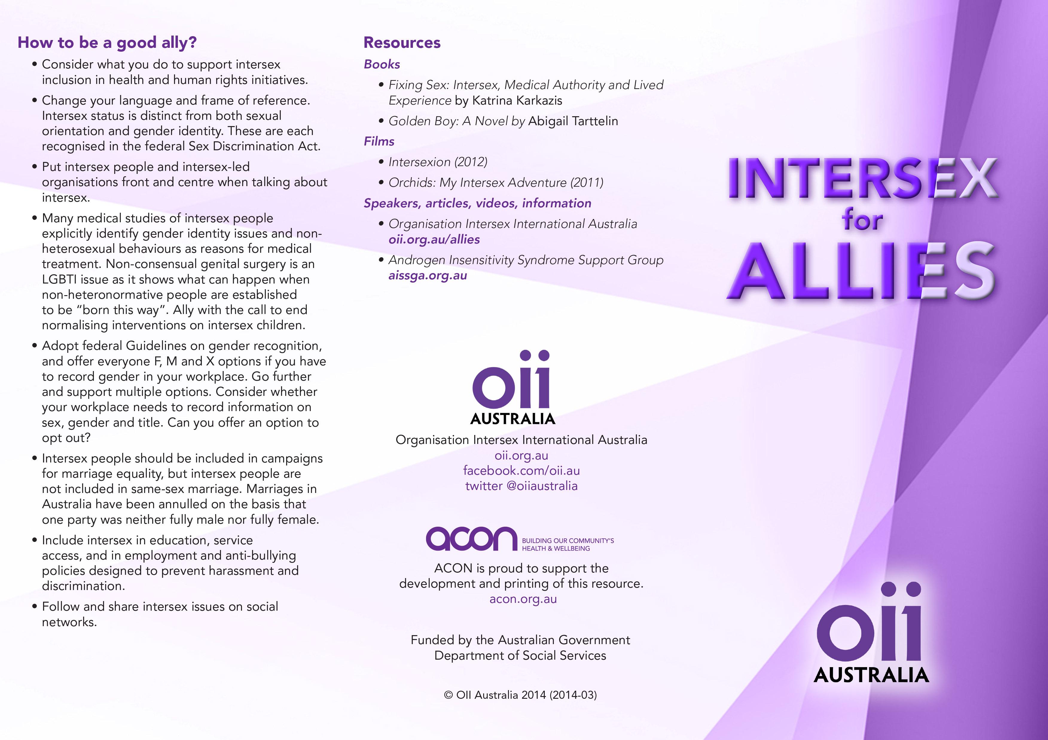 Information on intersexuals