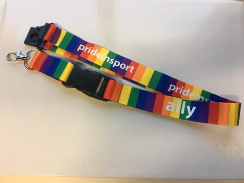 Rainbow striped lanyard with words Pride in Sport and Ally in white