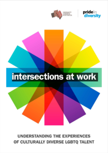 Cover of publication, rainbow wheel and title intersections at work