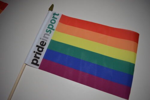 Image shows a flag in LGBTQ rainbow colours with a white strip where it is attached to a slim plastic handle, along the white strip are the words Pride in Sport