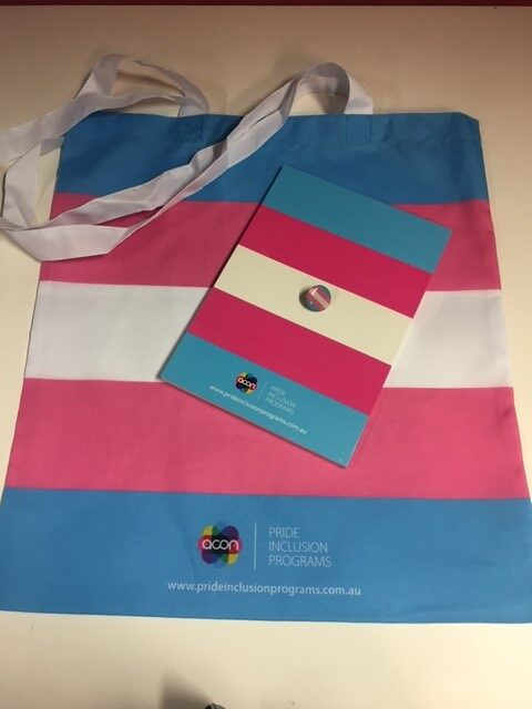 Image shows a tote bag in trans pride flag colours, with a matching A5 notebook and small lapel pin